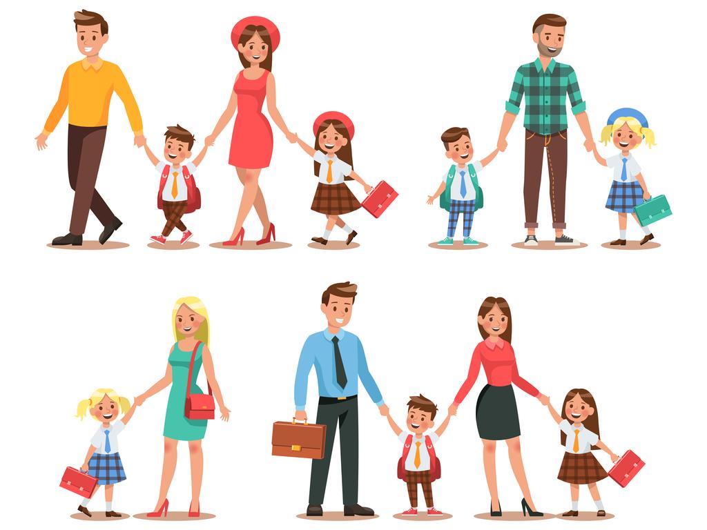 Illustratie van ouders met hun kinderen