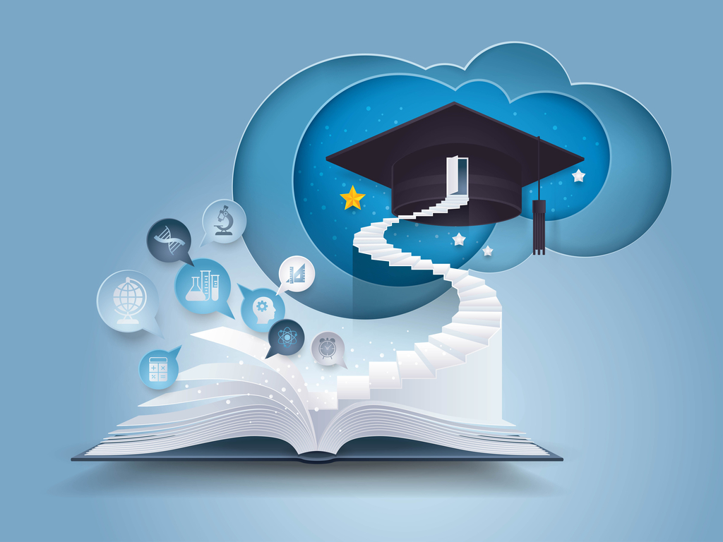 Open boek met trap naar afstuderen